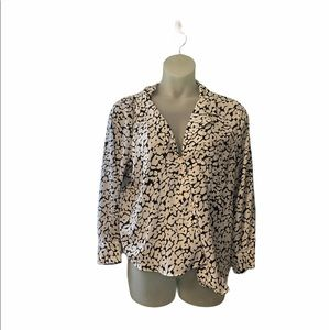 Who What Wear Marble Long Sleeve Career Blouse XXL